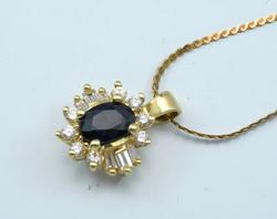 Amazing 14KT 0.82CT Sapphire & Diamond Pendant with Chain