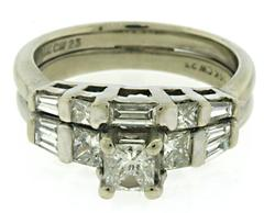 Sparkling Princess Cut Diamond and Baguette Ring