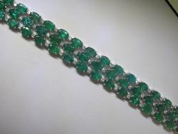 30+Carat Emerald & Diamond Bracelet in 14kt Gold