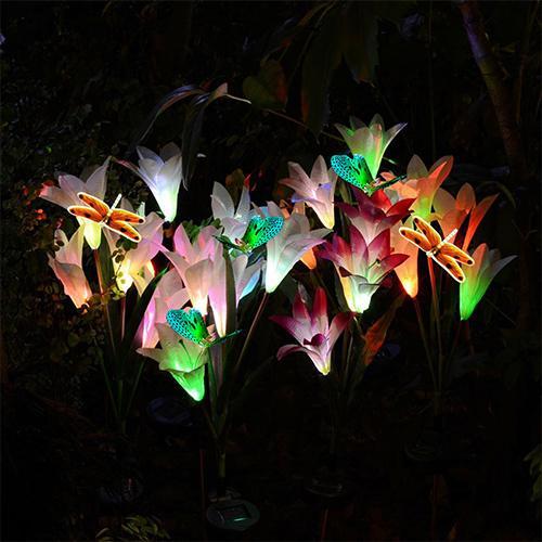 2Pcs/Set Waterproof LED Solar Stake Lily Flower