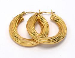 Stylish 14KT Twisted-Texture Hoop Earrings