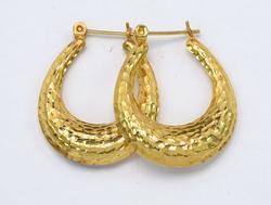 Hammered Elongated Hoop Earrings in 14KT Gold