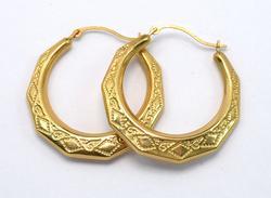 Interesting Geometric & Etched Hoop Earrings in Gold