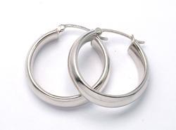 Sleek 1-inch Hoop Earrings in White Gold