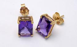 Bold Amethyst Stud Earrings in 14KT Gold