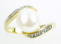 Sterling Vermeil Button Pearl & Diamond Accent Ring