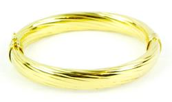 Sterling Vermeil Italian Ribbed Bangle Bracelet