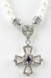 Judith Ripka Sterling Maltese Cross & Pearl Chain