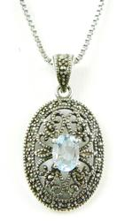 Sterling Silver Marcasite & Blue Topaz Pendant & Chain