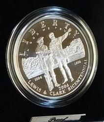 2004 Silver PROOF Lewis & Clark Dollar, Gov box & doc