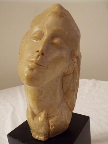 Artisan Carved Female Bust Statue Museum Mounted
