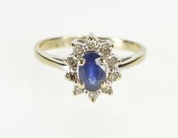 10K White Gold 0.85 Ctw Sapphire Diamond Halo Engagement Ring