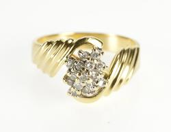 14K Yellow Gold Diamond Inset Cluster Grooved Freeform Wavy Ring