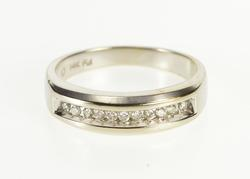 14K White Gold 0.25 Ctw Channel Diamond Inset Wedding Band Ring