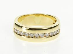 18K Yellow Gold 0.66 Ctw Channel Diamond Men's Wedding Band Ring