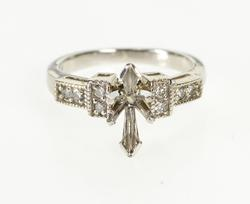14K White Gold 0.16 Ctw Diamond Marquise Engagement Setting Ring