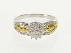 10K White Gold 0.50 Ctw Diamond Cluster Two Tone Engagement Ring