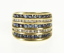 10K Yellow Gold 1.40 Ctw Tiered Sapphire Diamond Curved Band Ring