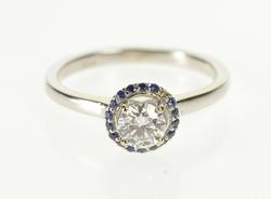 14K White Gold 0.78 Ctw Diamond Sapphire Halo Engagement Ring