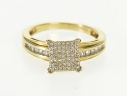 14K Yellow Gold 0.30 Ctw Square Pave Diamond Engagement Ring