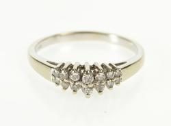 14K White Gold 0.25 Ctw Diamond Encrusted Tiered Wedding Band Ring