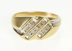 10K Yellow Gold 0.25 Ctw Diagonal Diamond Channel Men's Ring