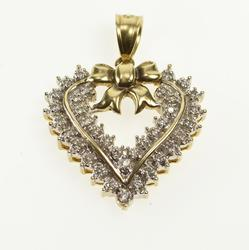 14K Yellow Gold 1.00 Ctw Retro Ornate Diamond Heart Bow Pendant