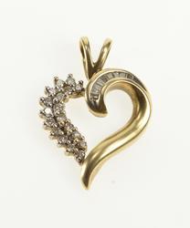 10K Yellow Gold 0.18 Ctw Diamond Inset Wavy Heart Pendant