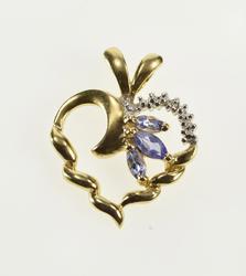 10K Yellow Gold Marquise Tanzanite Diamond Accent Wavy Heart Pendant