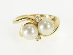 14K Yellow Gold 1960's Two Pearl Diamond Accent Engagement Ring