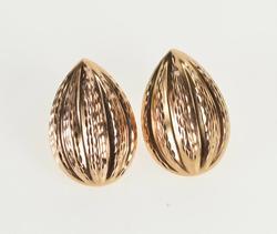 14K Rose Gold Pear Tear Drop Grooved Puffy Fashion Stud Earrings
