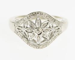 10K White Gold Ornate Diamond Flower Promise Engagement Ring