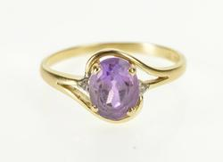 10K Yellow Gold Oval Amethyst Diamond February Birthstone Ring