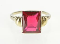 14K White Gold Retro Two Tone Fashion Syn. Ruby Solitaire Ring