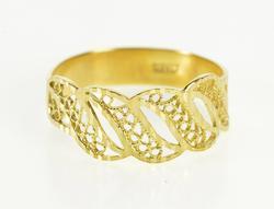 18K Yellow Gold Ornate Scroll Swirl Filigree Wave Pattern Ring
