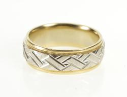 14K White Gold 6.8mm Two Tone Geometric Woven Wedding Band Ring