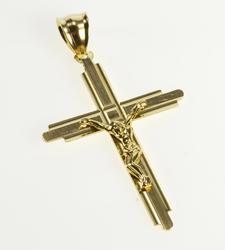 10K Yellow Gold Ornate Cross Crucifix Christian Faith Symbol Pendant