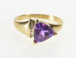 10K Yellow Gold Trillion Amethyst Diamond Channel Fashion Ring