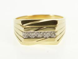 10K Yellow Gold Retro Squared Diamond Grooved Fashion Ring