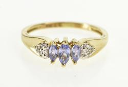10K Yellow Gold Marquise Tanzanite Diamond Accent Engagement Ring