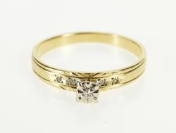 10K Yellow Gold Retro Diamond Etched Scroll Promise Engagement Ring