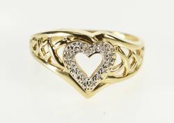 10K Yellow Gold Retro Diamond Heart Lattice Design Promise Ring
