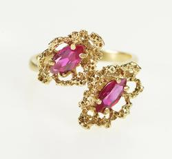 10K Yellow Gold Retro Syn. Marquise Ruby Freefrom Fashion Ring