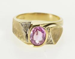 10K Yellow Gold Retro Ornate Oval Pink Topaz Diamond Accent Ring
