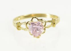 10K Yellow Gold Heart Cut Pink Cubic Zirconia Love Child's Ring
