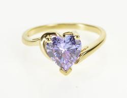 14K Yellow Gold Heart Cut Purple Cubic Zirconia Anniversary Gift Ring
