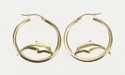 14K Yellow Gold Puffy Rounded Jumping Dolphin Fashion Hoop Earrings