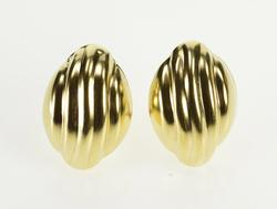 10K Yellow Gold Grooved Puffy Oval French Back Fashion Earrings