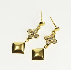 18K Yellow Gold Ornate Square Dangle Cubic Zirconia Cluster Earrings