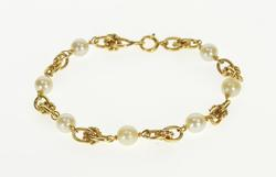 14K Yellow Gold Retro Pearl Beaded Knot Link Fashion Bracelet